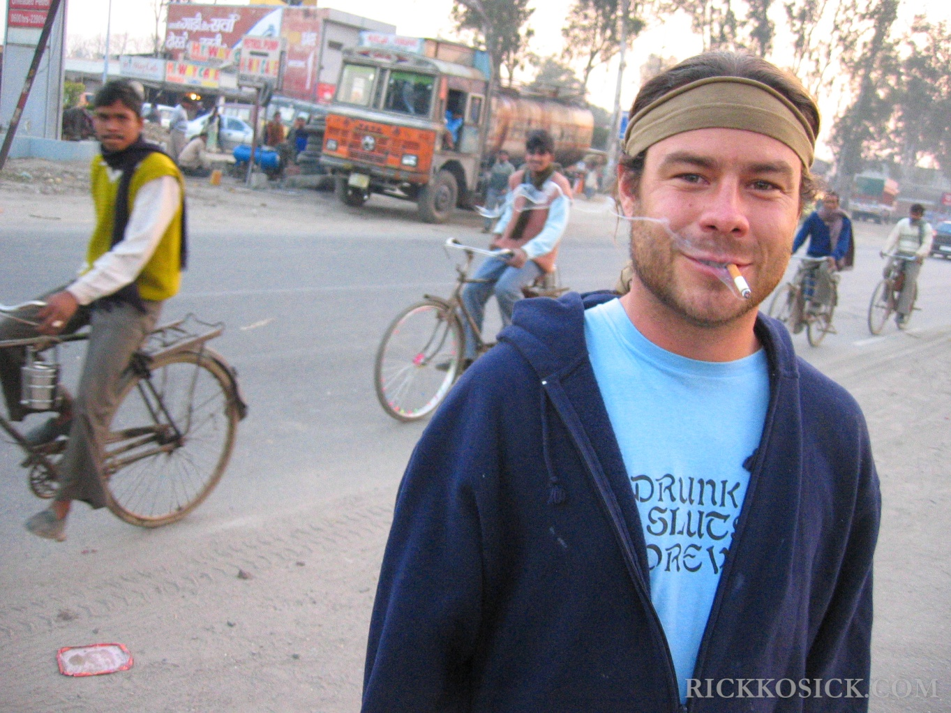 Chris Pontius smoking a cigarette (or weed)